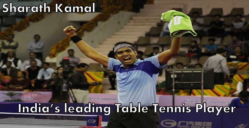 JAIPUR, MAR 13 (UNI):- India's Sharath Kamal celebrates afrer beating Korea's Joo Saehyunk during 28th Table Tennis Asia Cup 2015, in Jaipur on Friday. UNI PHOTO-91U