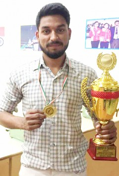 Sachin Bhati stood first position in air pistol Faridabad