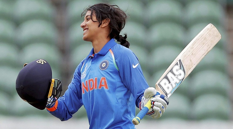 Taunton: Indian player Smriti Mandhana celebrates after she scored a century against West Indies  during their ICC Women's World Cup match in Taunton, England on Thursday. PTI Photo  (PTI6_29_2017_000284B)
