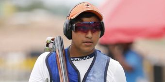 India's Vihan Shardul competes in the final round of double trap men's competition at the 18th Asian Games in Palembang, Indonesia, Thursday, Aug. 23, 2018. (AP Photo/Vincent Thian)