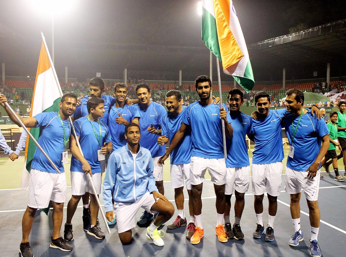 Bengaluru:  Indian team celebrates after winning the doubles match and winning the straight three matches to clinch the Davis cup against Uzbekistan at KSLTA in Bengaluru on Saturday. PTI Photo (PTI4_8_2017_000265B)